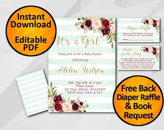 Instant Download Its a Girl Watercolor Baby Shower Turquoise Stripe Invitation set