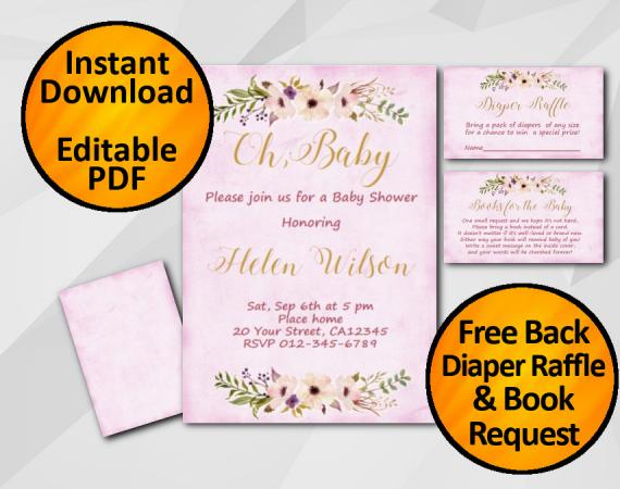 Instant Download Oh Baby Watercolor Baby Shower Fuchsia Invitation set