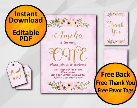 Instant Download Watercolor 1st Birthday Fuchsia Invitation set