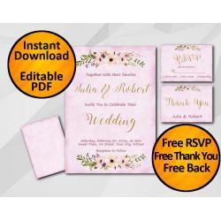 Wedding Fuchsia Invitation set