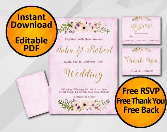 Instant Download Wedding Fuchsia Invitation set