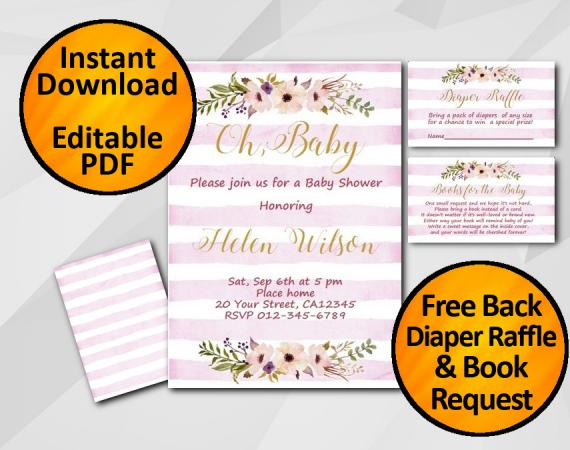 Instant Download Oh Baby Watercolor Baby Shower Fuchsia Stripe Invitation set