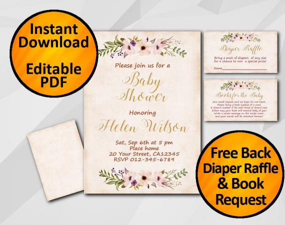 Instant Download Watercolor Baby Shower Peach Invitation set