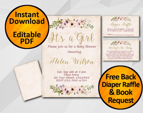Instant Download Its a Girl Watercolor Baby Shower Peach Invitation set
