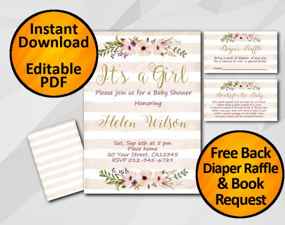 Instant Download Its a Girl Watercolor Baby Shower Peach Stripe Invitation set