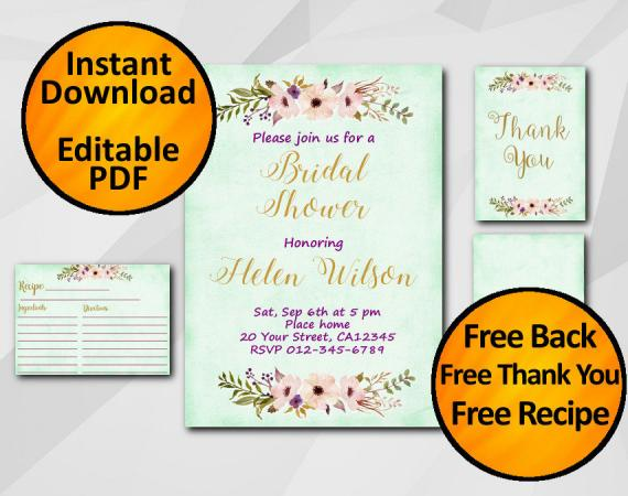 Instant Download Watercolor Bridal Shower Turquoise Invitation set