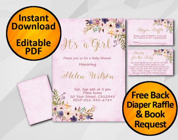 Instant Download Its a Girl Watercolor Baby Shower Fuchsia Invitation set