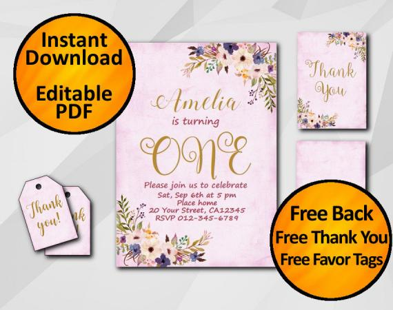 Instant Download Watercolor 1st Birthday Fuchsia Invitation set