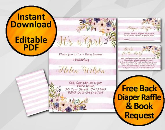Instant Download Its a Girl Watercolor Baby Shower Fuchsia Stripe Invitation set