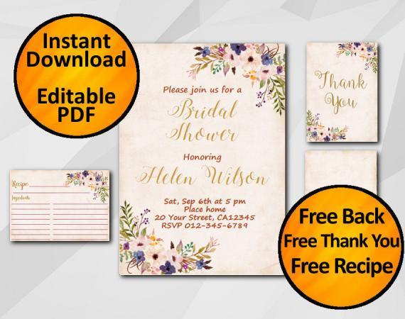 Instant Download Watercolor Bridal Shower Peach Invitation set