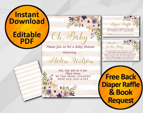 Instant Download Oh Baby Watercolor Baby Shower Peach Stripe Invitation set