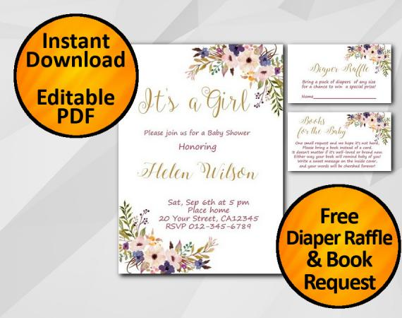 Instant Download Its a Girl Watercolor Baby Shower Invitation set
