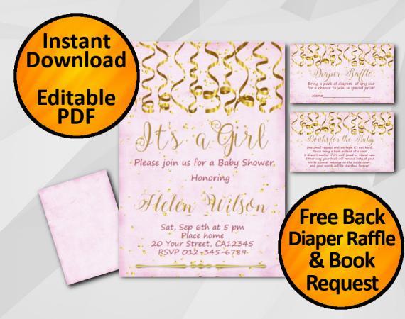 Instant Download Gold Confetti Its a Girl Baby Shower Fuchsia Invitation set