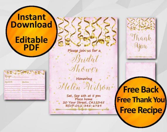 Instant Download Gold Confetti Bridal Shower Fuchsia Invitation set