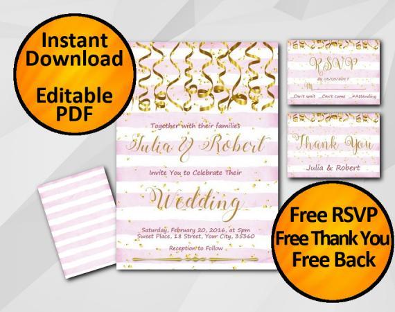 Instant Download Gold Confetti Wedding Fuchsia Stripe Invitation set