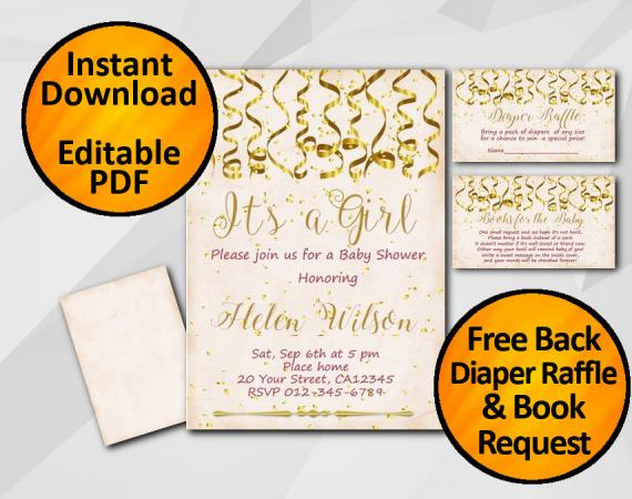 Instant Download Gold Confetti Its a Girl Baby Shower Peach Invitation set