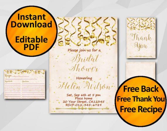 Instant Download Gold Confetti Bridal Shower Peach Invitation set