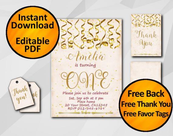 Instant Download Gold Confetti 1st Birthday Peach Invitation set
