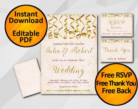 Instant Download Gold Confetti Wedding Peach Invitation set