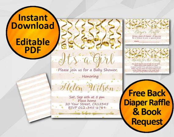 Instant Download Gold Confetti Its a Girl Baby Shower Peach Stripe Invitation set