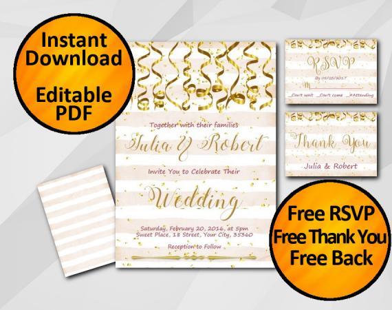 Instant Download Gold Confetti Wedding Peach Stripe Invitation set