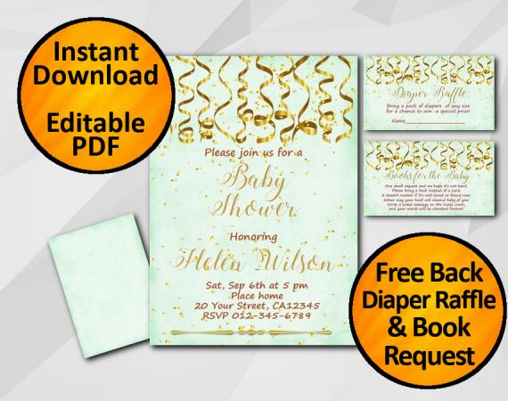 Instant Download Gold Confetti Baby Shower Turquoise Invitation set