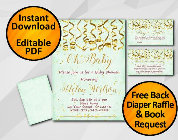 Instant Download Gold Confetti Oh Baby Baby Shower Turquoise Invitation set