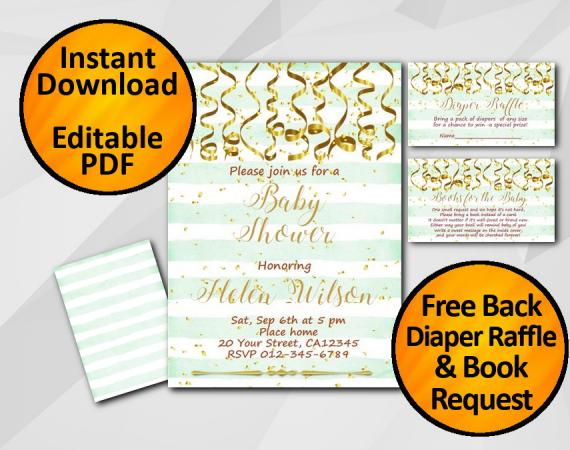 Instant Download Gold Confetti Baby Shower Turquoise Stripe Invitation set