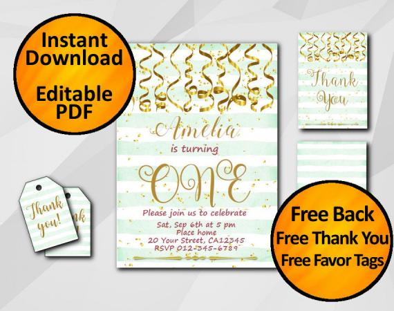Instant Download Gold Confetti 1st Birthday Turquoise Stripe Invitation set