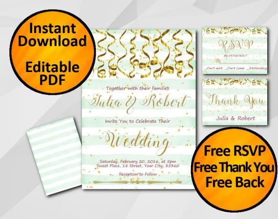 Instant Download Gold Confetti Wedding Turquoise Stripe Invitation set
