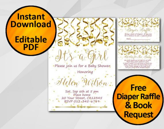 Instant Download Gold Confetti Its a Girl Baby Shower Invitation set