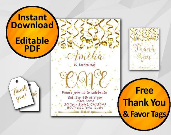 Instant Download Gold Confetti 1st Birthday Invitation set