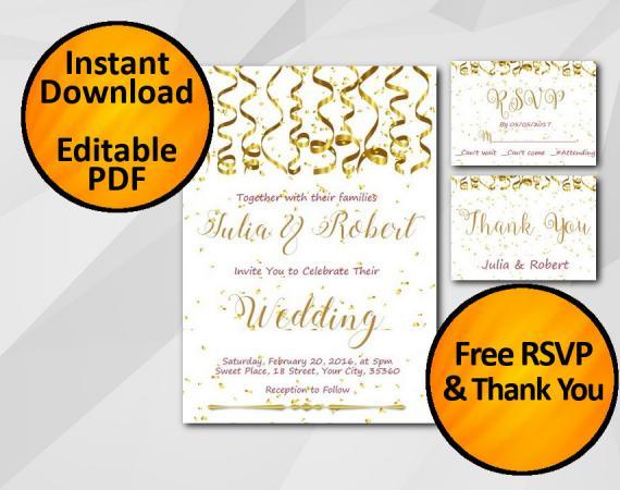 Instant Download Gold Confetti Wedding Invitation set