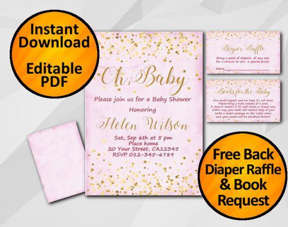 Instant Download Gold Confetti Oh Baby Baby Shower Fuchsia Invitation set
