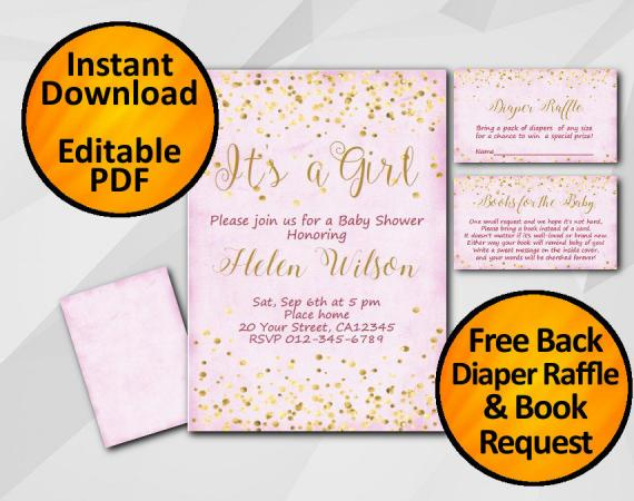 Instant Download Gold Confetti Its a Girl Baby Shower Fuchsia Invitation set