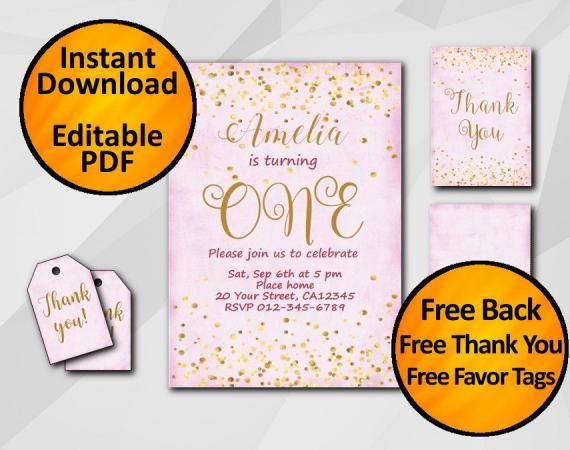 Instant Download Gold Confetti 1st Birthday Fuchsia Invitation set