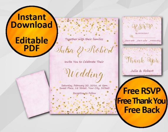 Instant Download Gold Confetti Wedding Fuchsia Invitation set
