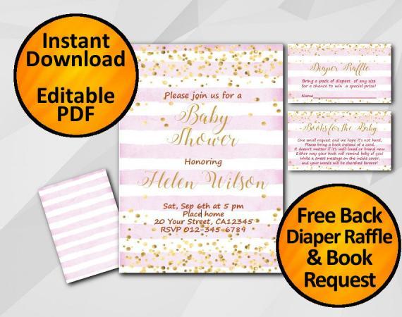 Instant Download Gold Confetti Baby Shower Fuchsia Stripe Invitation set