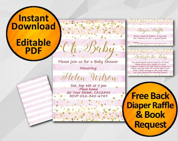 Instant Download Gold Confetti Oh Baby Baby Shower Fuchsia Stripe Invitation set