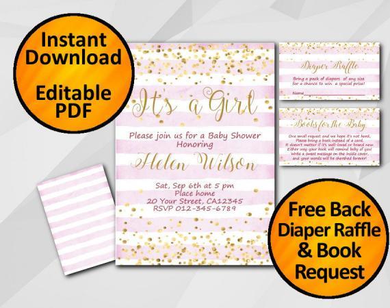 Instant Download Gold Confetti Its a Girl Baby Shower Fuchsia Stripe Invitation set