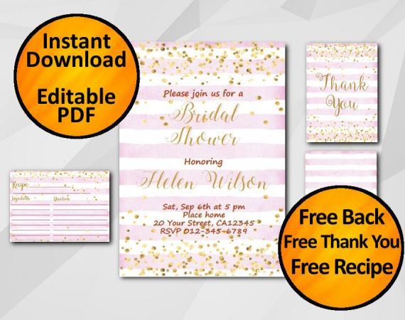Instant Download Gold Confetti Bridal Shower Fuchsia Stripe Invitation set