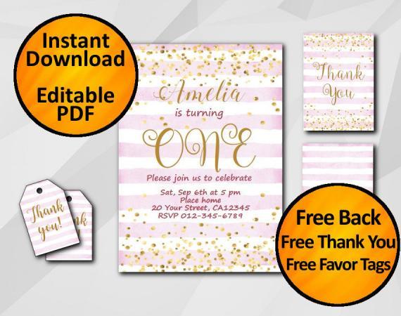 Instant Download Gold Confetti 1st Birthday Fuchsia Stripe Invitation set