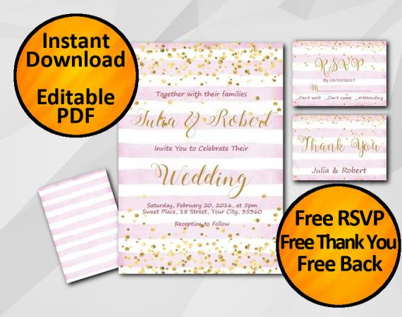 Instant Download Gold Confetti Wedding Fuchsia Stripe Invitation set