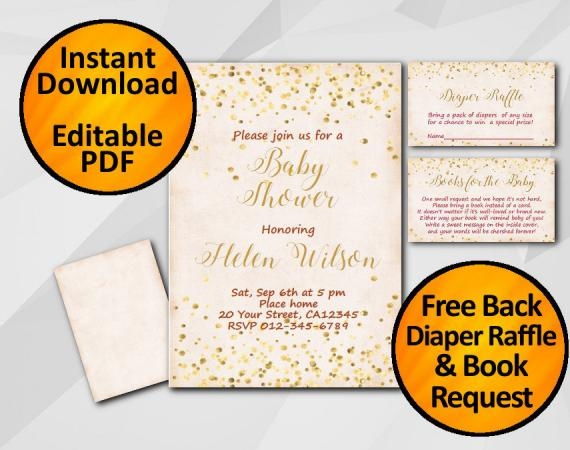 Instant Download Gold Confetti Baby Shower Peach Invitation set