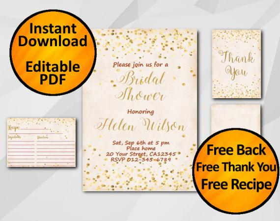 Instant Download Gold Confetti Bridal Shower Peach Invitation set