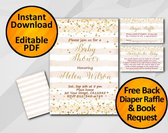Instant Download Gold Confetti Baby Shower Peach Stripe Invitation set