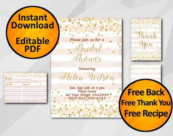 Instant Download Gold Confetti Bridal Shower Peach Stripe Invitation set