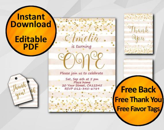 Instant Download Gold Confetti 1st Birthday Peach Stripe Invitation set