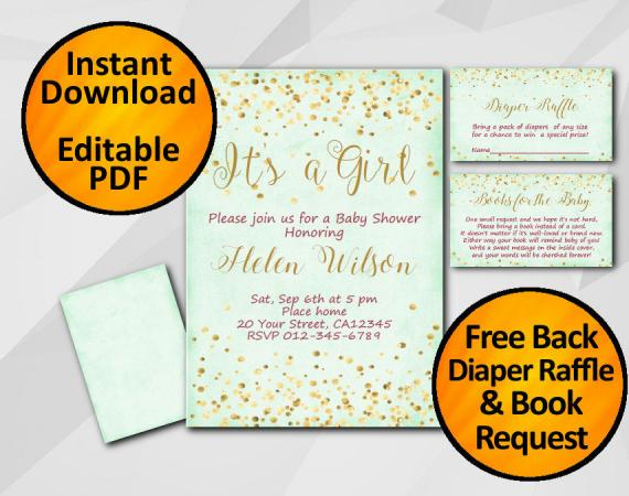 Instant Download Gold Confetti Its a Girl Baby Shower Turquoise Invitation set