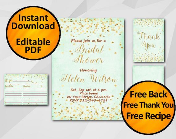 Instant Download Gold Confetti Bridal Shower Turquoise Invitation set